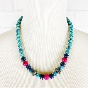 90's Glass Beaded Necklace Jade Marbled Pink EUC